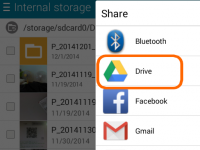 "On Android, use the ""Share"" button to save your file onto your Google Drive."