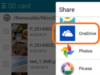 On Android, use the share menu to add a file onto you OneDrive.