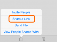 "On an iPad, select your file in OneDrive app, then tap the share icon and ""Share a Link""."